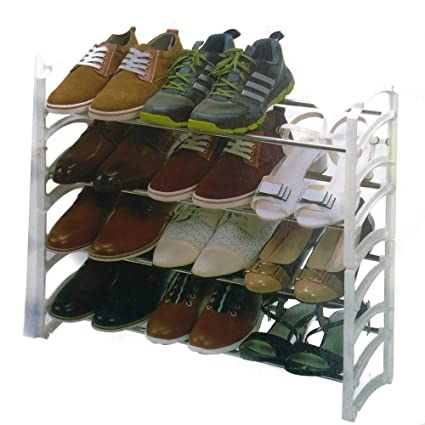 Hojo 4 Layer Plastic Shoe Rack with Stainless Steel Pipes Shoes Storage Cabinet Home Storage   Organization