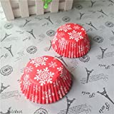 100 Pcs Red Snowflake Cupcake Liners Cases Christmas Baking Cups Food Grade Paper Cake Cup Kitchen Tools