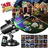 Zeonetak All Year Holiday Projector Light 18 Patterns Interchangeable Led Christmas Lights Valentine's Day Birthday Party Independence Day Decoration(10-15ft Projection Distance)