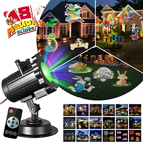 Zeonetak All Year Holiday Projector Light 18 Patterns Interchangeable Led Christmas Lights Valentine's Day Birthday Party Independence Day Decoration(10-15ft Projection Distance) for $<!--$32.99-->