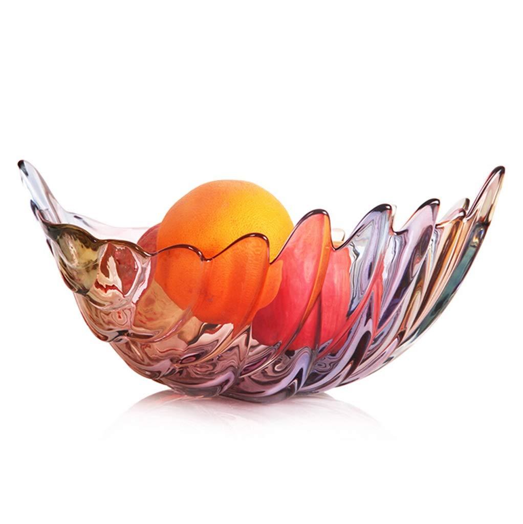 XX_C フルーツバスケット フルーツプレート乾燥フルーツフルーツバスケットフルーツボウルクリエイティブな明るいガラスの葉フルーツボウル鉛フリーガラス -キッチン用品食器 (サイズ さいず : 30x8cm) 30x8cm  B07QNK4836