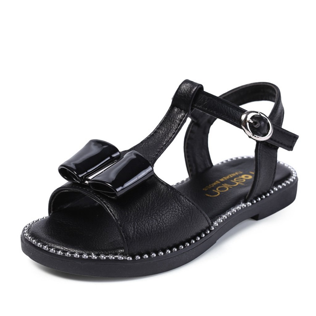 Girl's Cut Bowknot Sandals Open-Toe T-Strap Ankle Outdoor Casual Princess Sandal Shoes
