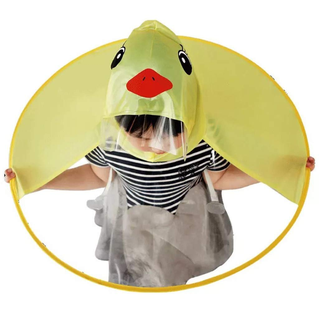 Easong Foldable Cute Rain Coat Ufo Children Umbrella Hat Magical Hands Free Raincoat Non-Disposable Windproof Breathable Light Weight Foldable Portable Soft Durable Non-Toxic Odorless