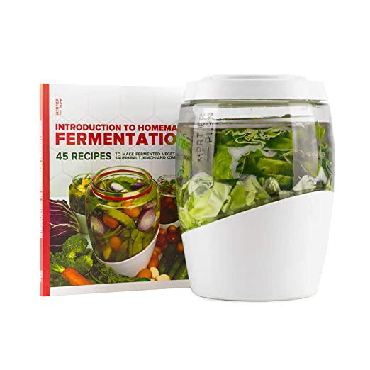Mortier Pilon - 5L Glass Fermentation Crock + FREE recipe book - Make Easy  Homemade Fermented Foods (kimchi, pickles, sauerkraut, organic vegetables)