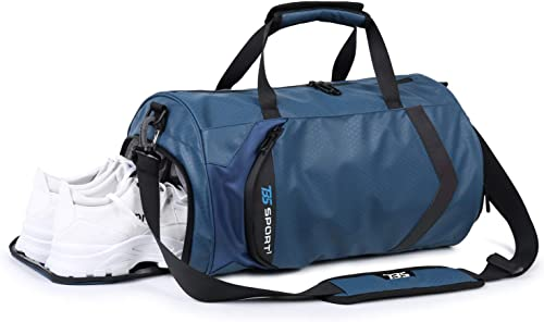 HUANGHENG Fitness Sports Gym Bag with Shoes Compartment and Wet Pocket Waterproof Small Travel Duffel Bag for Men and Women blue