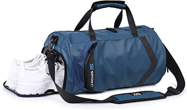 Sports Duffel Bag For Travel Gym Bag with Shoe Compartment Black Unisex 34 L