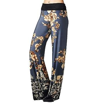 Mujeres Moda Cintura Alta Rayas Impresión Floral Ancho Pierna Pantalones, Ancho Pierna Palazzo Pantalones de salón, Azul, Small: Amazon.es: Hogar