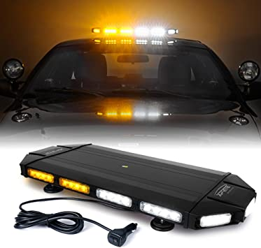 Professional Extreme High Intensity Low Profile Roof Top lightbar for Plow or Tow Truck Construction Vehicle Xprite Black Hawk 48 Amber Emergency Warning Security Strobe Light Bar