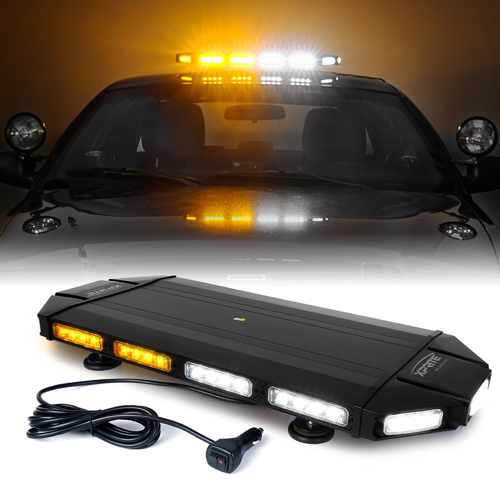 """Xprite Black Hawk 27"""" White Amber Emergency Warning Security Strobe Light Bar, Professional Extreme High Intensity Low Profile Roof Top lightbar for Plow or Tow Truck Construction Vehicle"""