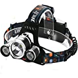 Boruit RJ-5000 5000 Lumen Led Headlamp Bright Headlight Head Flaslight Torch 3 XM-L2 LED with Rechargeable Batteries and Wall Charger for Hiking Camping Hunting Riding Night Fishing Kids