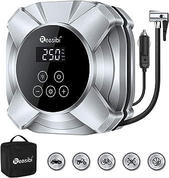 Qomolo Auto Luftpumpe Luftkompressor Tragbar 12V 120PSI Elektrische Autoluftpumpe Reifen Inflator Kompressor Digital Auto Reifenpumpe mit 3,3 Meter Draht und Manometer