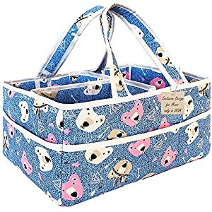Diaper Bag Organizer Newborn Boy – Extra Large Caddy Organizer, Portable Nursery Organizer Baby Basket for Baby Necessities and New Born Babies Items. Baby Shower Gifts for Boys & Girls Blue