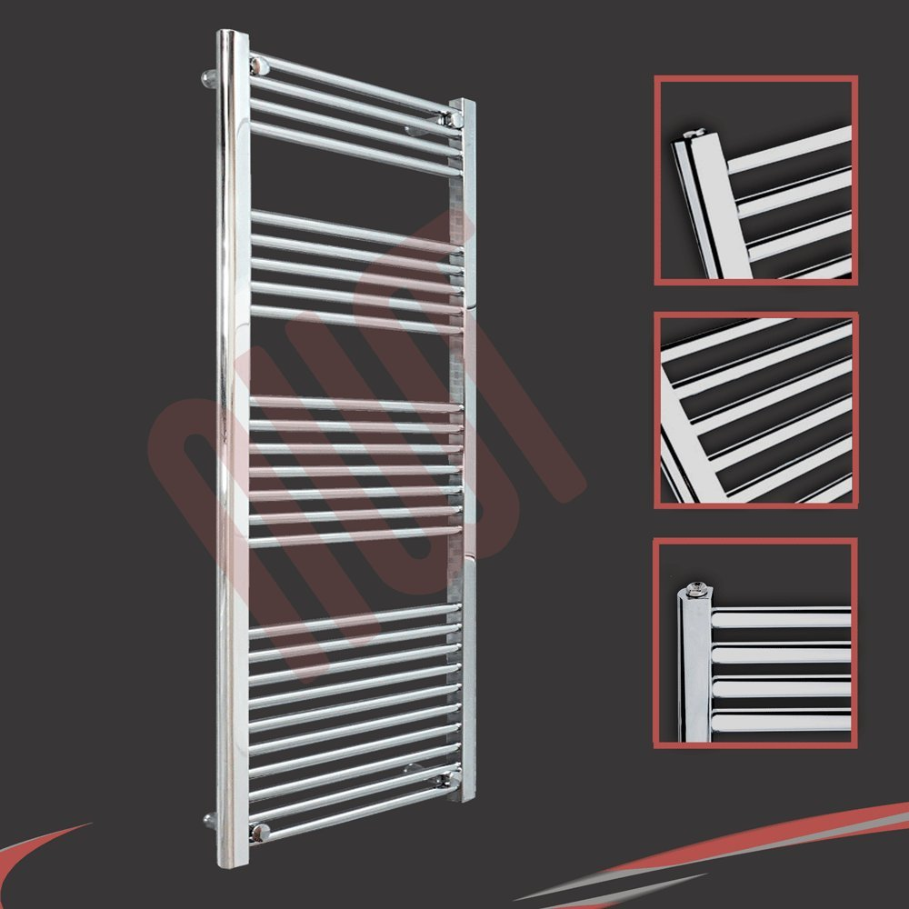 600mm(w) x 1400mm(h) Striaght Chrome Heated Towel Rail, Radiator, Warmer 2661 BTUs Bathroom Central Heating Ladder Rail NWT Direct