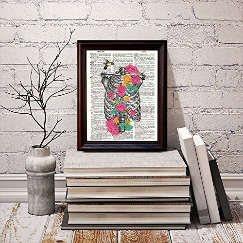 Dictionary Art Print Printed On Authentic Vintage Dictionary Book Page 8 x 10.5 Fresh Prints of CT Ribs and Flowers