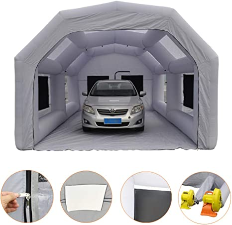Spray Booth LuckyWe Inflatable Spray Paint Booth 33x16.5x13FT with Two Blowers 1100W+750W Filter System Portable for Car Parking Tent Workstation Airbrushing Painting
