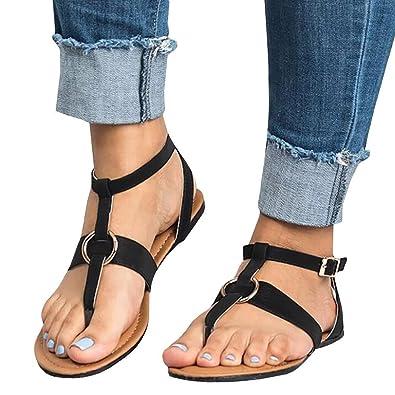 683fb1ef592fe Amazon.com | ThusFar Womens Flat Sandals Ankle Strap Buckle Flip ...