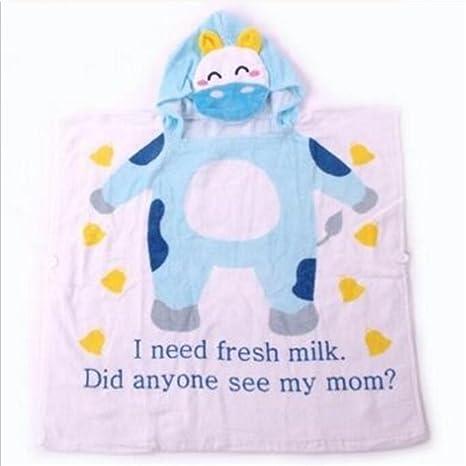 NaXinF peignoirs para niños algodón niños Vaca Estampado algodón Toalla con Capucha Albornoz Protectora Playa Toalla