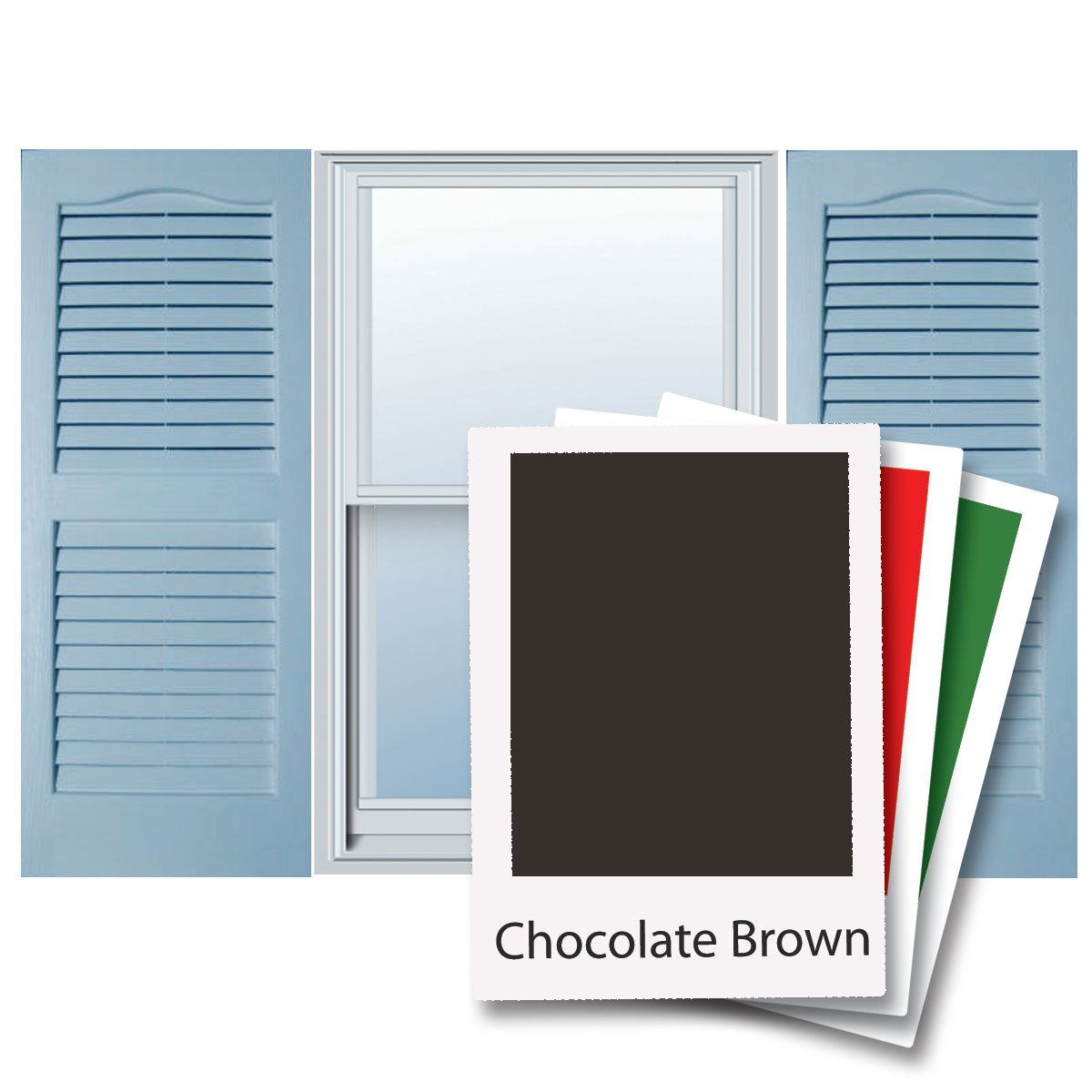 Alpha VNB1543CHOL 14-Inch by 43-Inch Open Louver, Chocolate, 2-Pack