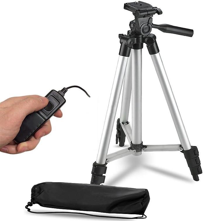 """50"""" Inch Lightweight Aluminum Camera Tripod + Remote Shutter Release for Canon T6i T6 T6s T5i T5 T4i T3i T2i T1i and 4-inch mini tripod Included (4 Piece Set)"""