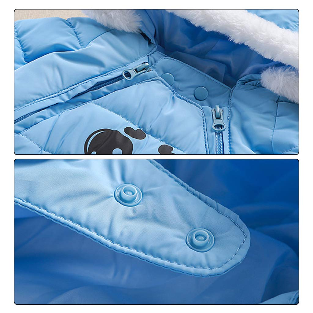Baby Snowsuit Winter Rompers Hoodie Down Jacket Coat Warm Fur Trimmed Outfits 6-12 Months
