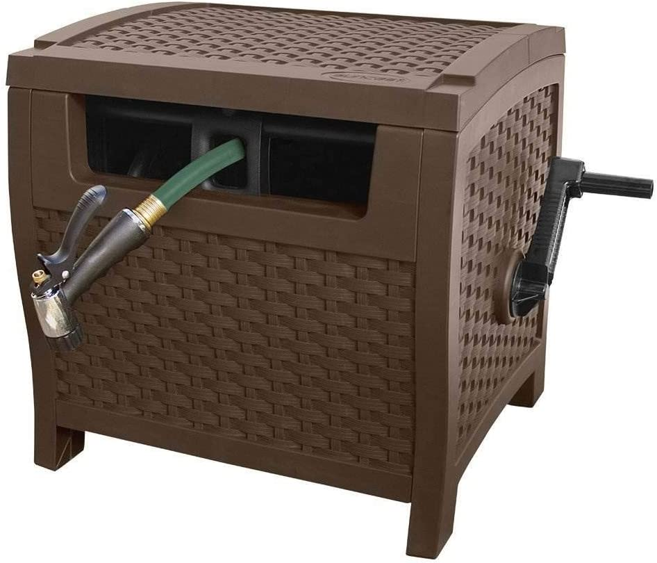 Suncast CPLPTW175 TRV131904 Resin Outdoor Hideaway Guide-Durable Hose STO, Mocha Brown