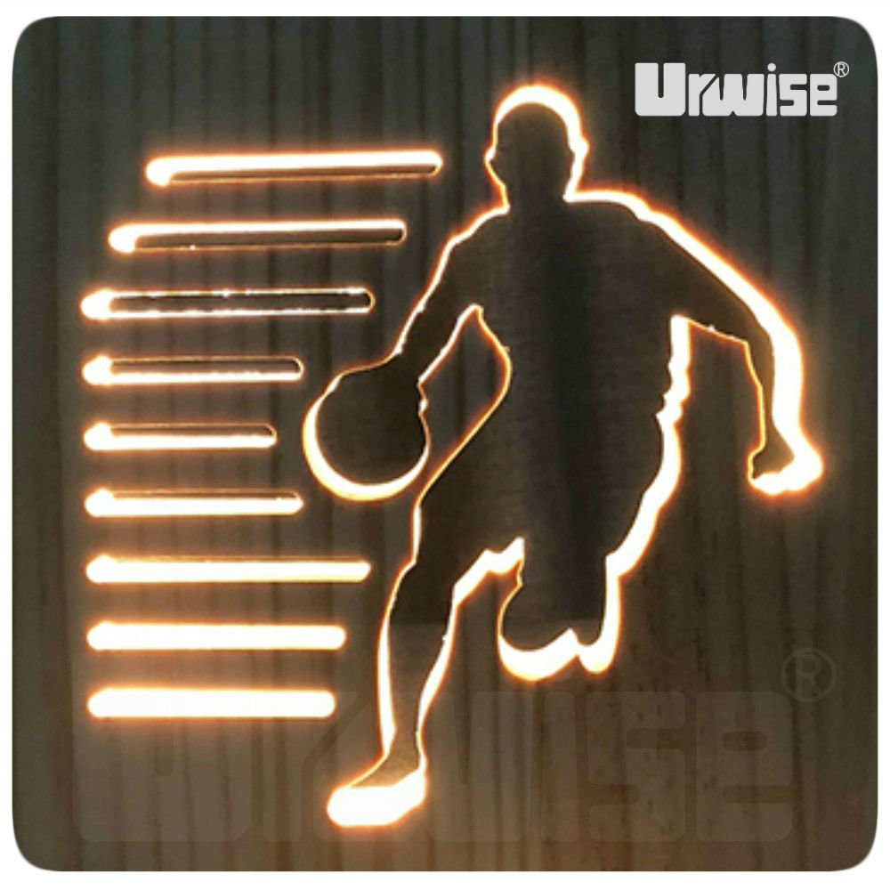 Urwise Basketball 3D Wooden Night Light, Carved Wooden Desk Lamp, Kids&Baby Night Lamp, Home Decoration or Birthday Gifts TW1822