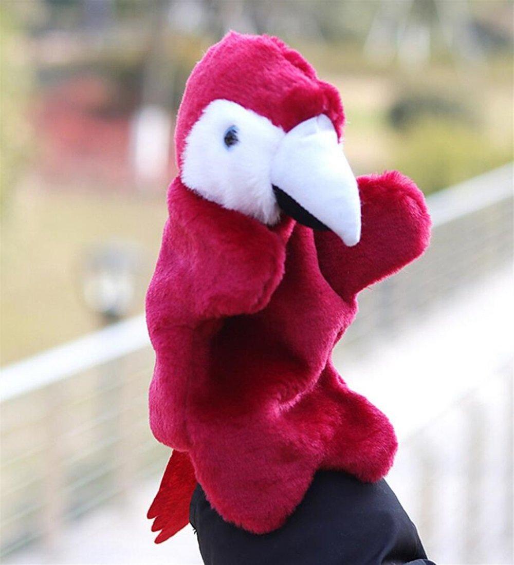 Favorise la coordination œ il-main Mignon animal peluche peluche douce main marionnette bande dessiné e jouet en peluche (gagner perroquet rouge) Sunshier