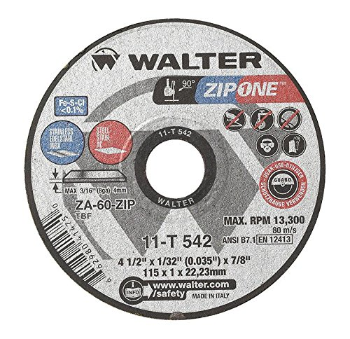 Walter ZIP One High Performance Cutoff Wheel, Round Hole, Zirconia Alumina, 41/2