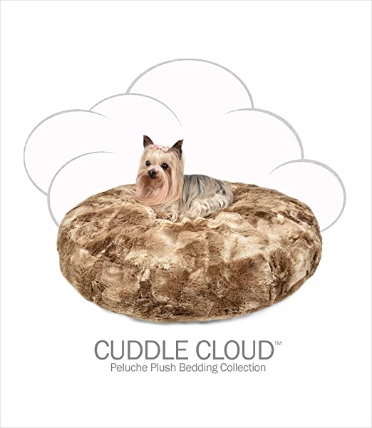 Amazon.com : Peluche Plush Luxury Cuddle Cloud Round Eco-Wool-Filled Dog/Pet Bed (24