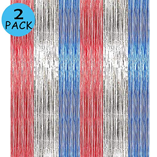 2Pack 4th of July Foil Fringe Curtains Tinsel Garland Independence Day DIY Blue Red Party Photo Booth Props Backdrop Door Wall Decorations
