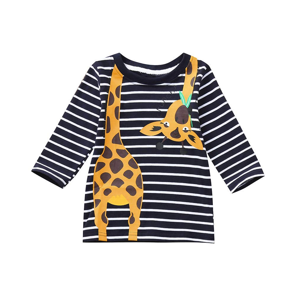 Black Friday Deals Boys clothes,Gifts for boys,Toddler Kids Boys Long Sleeves Giraffe Print Stripe T-shirt Tops Baby Clothes