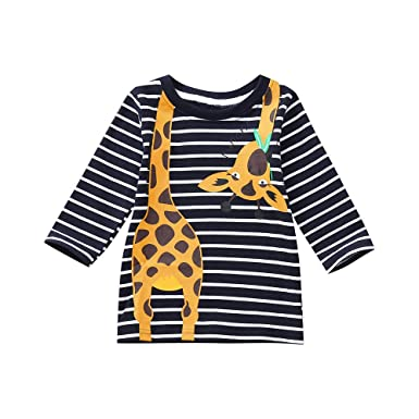 161a2b2fa Amazon.com: Girls Tops Pulison Long Sleeves Giraffe Print Stripe T-shirt  Toddler Baby Clothes (1-5 Years Black): Clothing