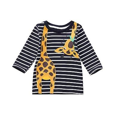 834835df1f Amazon.com  GoodLock Clearance!! Baby Boys Girls Tops Toddler Kids Long  Sleeve Giraffe Print Stripe T-Shirt Tops Clothes  Clothing