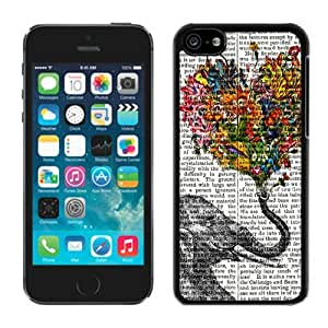 Vintage Newspaper Aztec Elephant Floral Trunk Design Rubber TPU Phone Cases for Iphone 5c Soft Silicone Cell Phone Black Cover