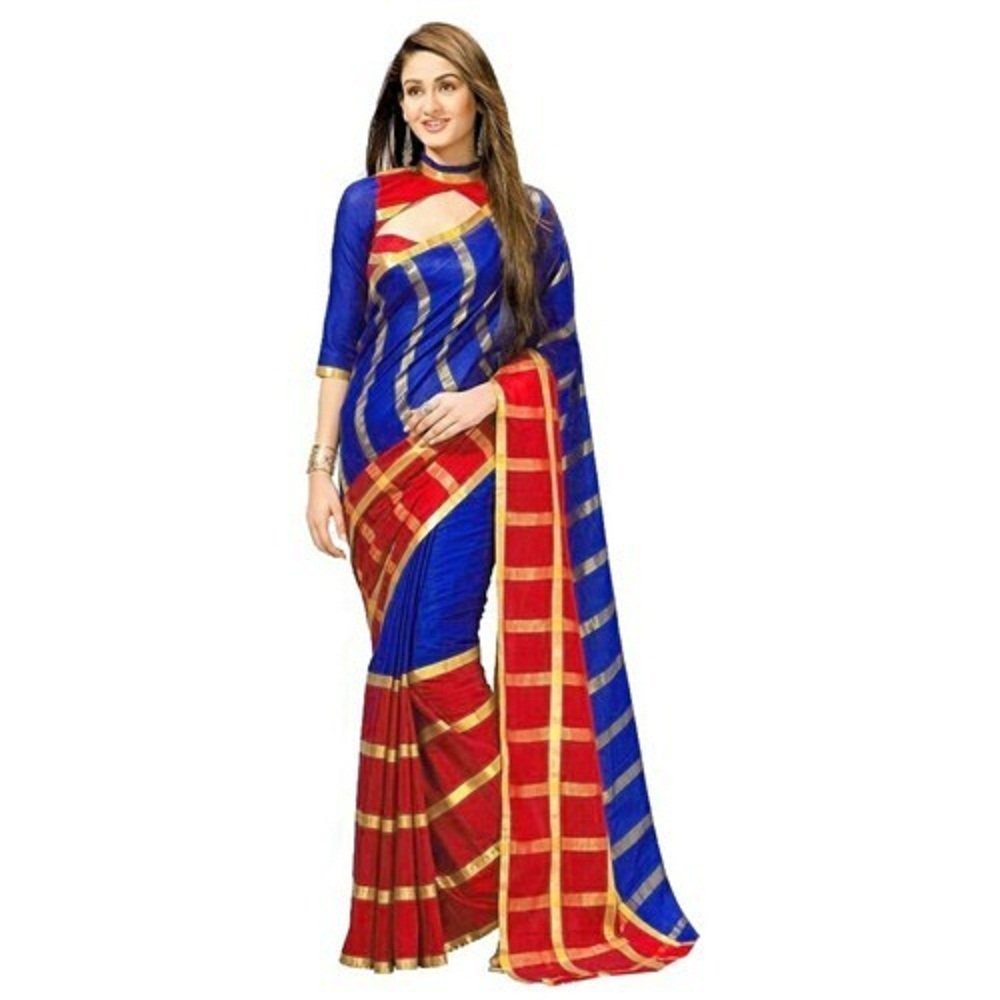 Bollywood Indian Traditional Collection Party Wear Saree Sari,Function, Karneval, Birthday Dress, Geburtstag, Indische Kleid,Hippie Kleid - red and Blue