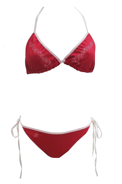 Außergewöhnliche tolles 3tlg. Bikiniset Triangel Neckholder in rot mit Shorts in Lederhosenoptik