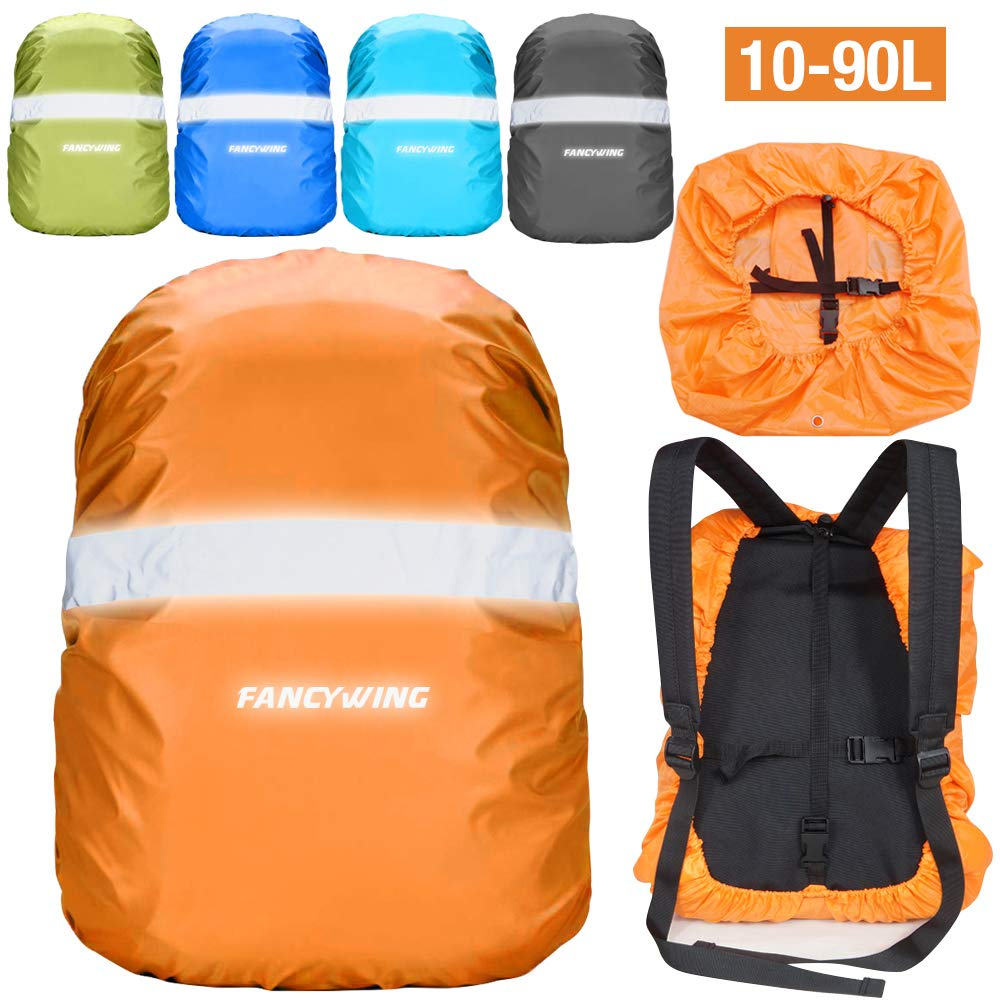 Rain Cycling Camping etc. Hunting FANCYWING Waterproof Backpack Rain Cover with Reflective Strap Upgraded 10-90L Non-Slip Rainproof Backpack Cover for Hiking
