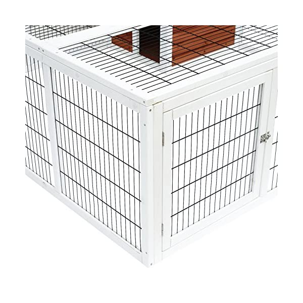 "PawHut 64"" Wooden Outdoor Rabbit Hutch Playpen with Run and Enclosed Cover 7"