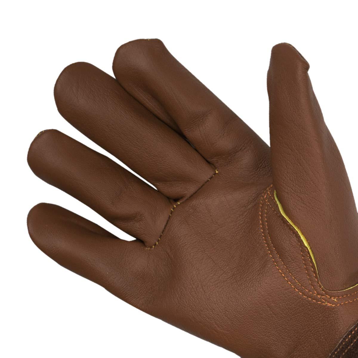 Small a prueba de torceduras amarillo guantes de jardiner/ía de piel de cabra transpirables y duraderos 1 CCBETTER guantes de poda con mangas extra largas de cuero vacuno para hombres y mujeres