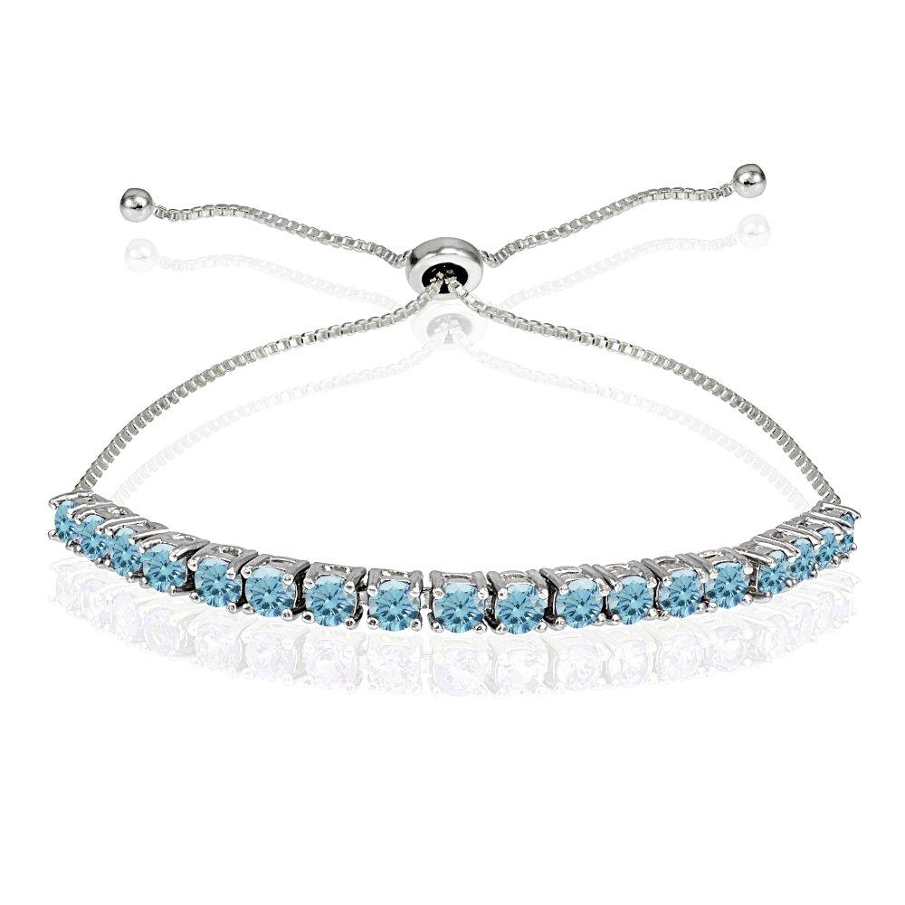 Sterling Silver 3mm Light Blue Round-cut Bolo Adjustable Bracelet made with Swarovski Crystals
