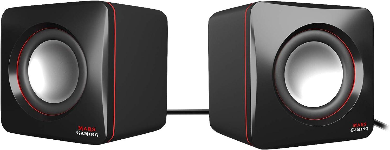 Mars Gaming MAS0 - Altavoces gaming (8W potencia, tamaño compacto, rendimiento graves optimizado, sistema de canal 2.0, sonido 3D, USB, Jack 3.5mm, PC / Mac / Smartphone / Tablet), negro y rojo
