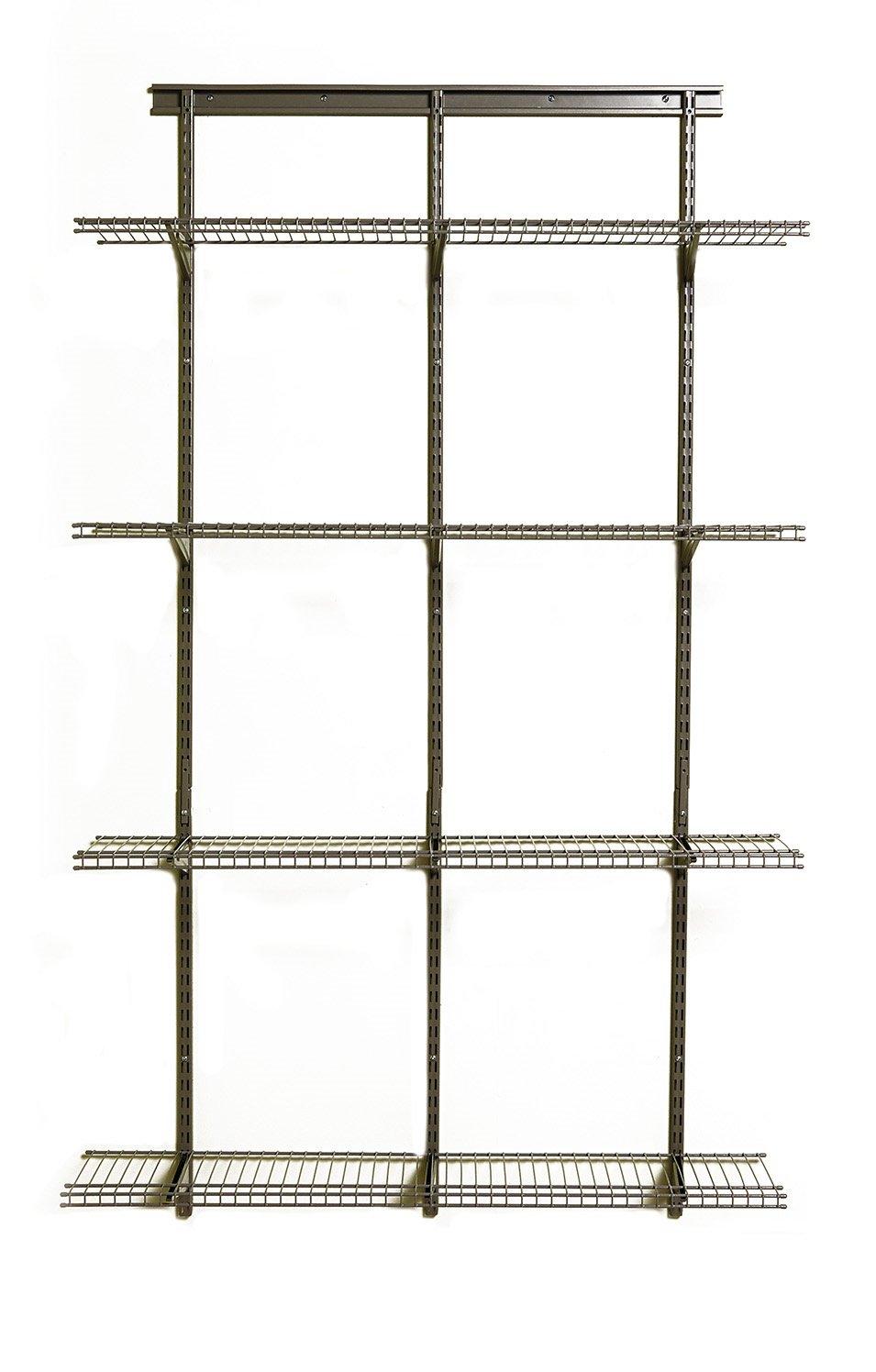 ClosetMaid 52845 ShelfTrack Adjustable Utility Organizer Kit,Nickel,4'. X 12 in 4'. X 12 in
