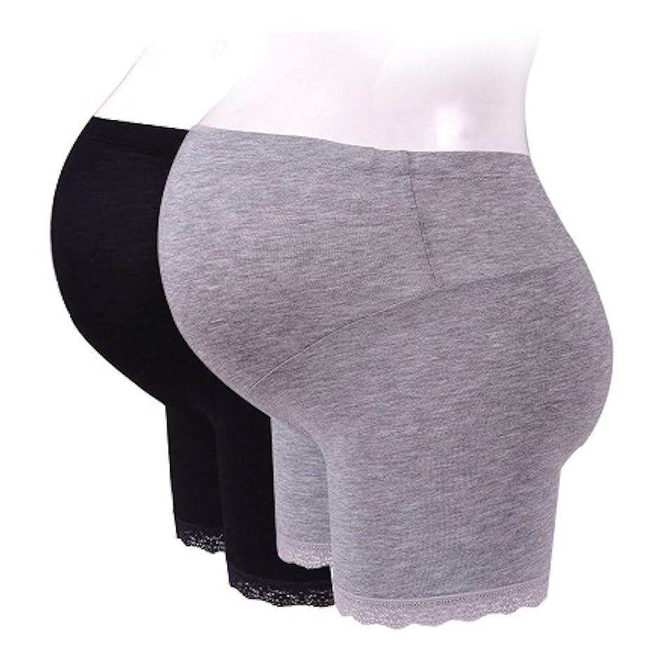 完全に質量すき[MIKA&MAYA] 2色セット マタニティ レギンス ショート パンツ インナー ブラック グレー 妊婦 (ブラック グレー M)