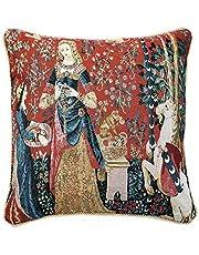 Signare Kleurrijke kunst kussensloop kussenslopen sierkussen tapijt   dubbelzijdig 45x45cm   dames en eenhoorn One Size Geruchssinn