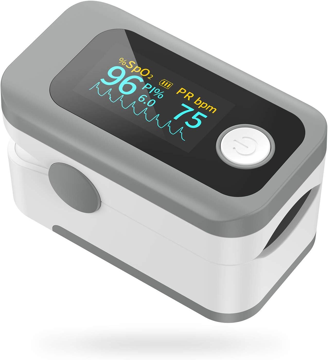 Oxímetro de Pulso Wawech Pulsioxímetro de Dedo digital profesional con Pantalla LED para medidor de oxigeno en sangre(SpO2)PR y PI