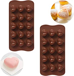 NatureTouch Silicone Mold, 2 Pcs Chocolate Molds Heart Shaped Mold Not Sticky Chocolate Bomb, [FDA Food Standard] For Baking Chocolate, Jelly, Cake, Candy, Desserts, Ice Pop on Holiday with Family