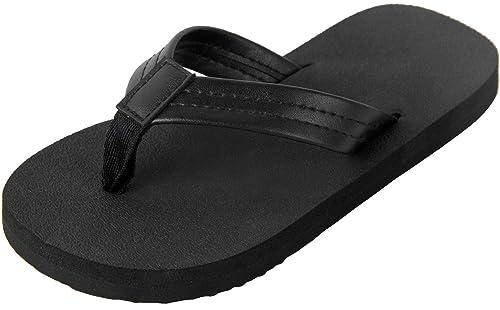 1efb270c419 4HOW Unisex Flip Flops Sandal for Little Kid Black Size 1.5M-2M