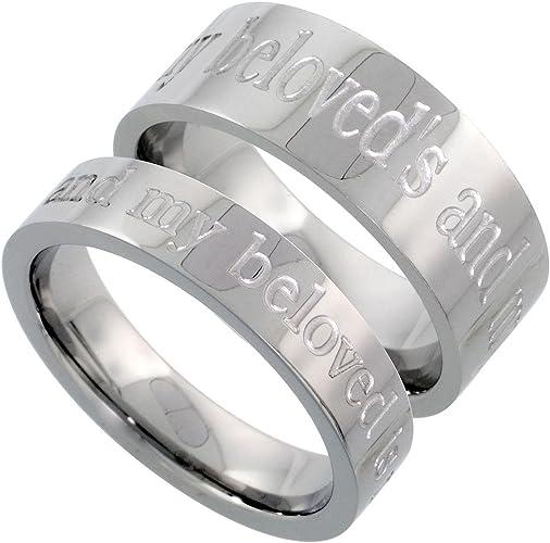 11.5 Women Ring Size Gemini His /& Hers Groom /& Bridal Matching Titanium Anniversary Wedding Band Ring Set 6mm/&4mm Men Ring Size 10