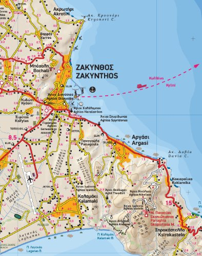 Map of Zante Zakynthos Terrain Map 355 Waterproof and ripproof