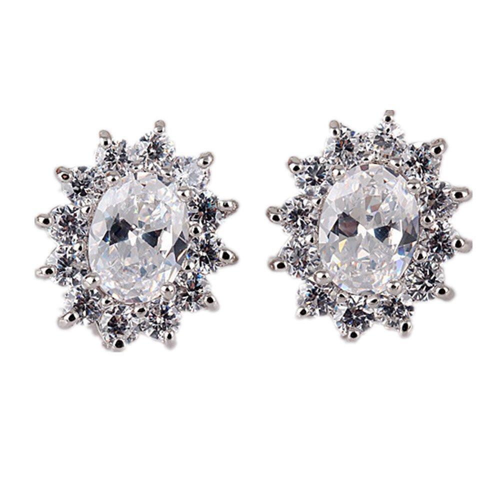 White Gold Plated Oval Zircon Stud Earrings for Women
